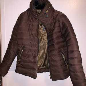 Trending stylish brown puffer coat